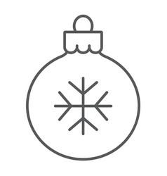 Christmas tree ball thin line icon xmas vector
