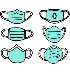 Collection freehand drawing medical mask vector