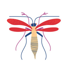 cute colorful flying insect mosquito vector image