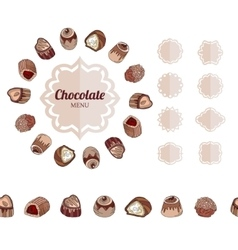 Different chocolate candies on white Frame vector image