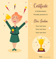 diploma template girl with trophy vector image