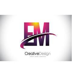 Em e m purple letter logo with swoosh design vector