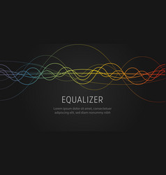 Eualizer sound wave colorful wavy lines on black vector