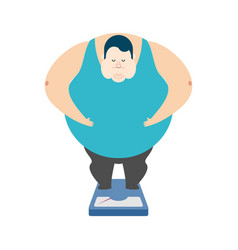 fat guy on scales glutton thick man fatso vector image