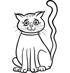 Female cat cartoon for coloring book vector