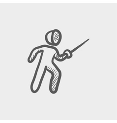 Fencing sport sketch icon vector image