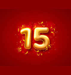 Festive ceremony balloons 15th numbers balloons vector