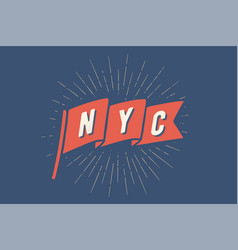 flag ny old school banner with text new york vector image