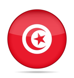 Flag of Tunisia Shiny round button vector
