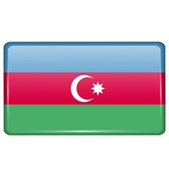 Flags Azerbaijan in the form of a magnet on vector image
