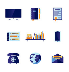 flat office and communication icon set vector image