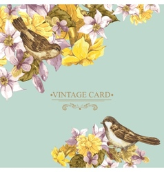 Floral Retro Card with Bird Sparrows vector image