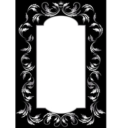 Frame of silver leaf vector