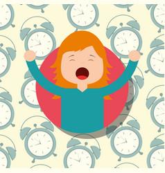 Girl in pajamas yawning and stretching clocks vector