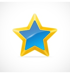 Gold star and blue center vector