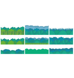 Green bush border set vector