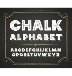 Hand drawn alphabet on chalkboard vector image