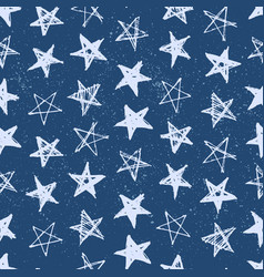 hand drawn stars seamless pattern vector image