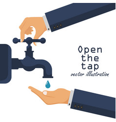 Hand open tap water liquid in palm turn on vector