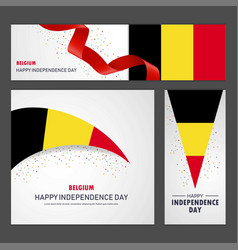 Happy belgium independence day banner and vector