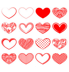 hearts red decoration set vector image