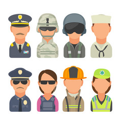 Icon people - soldier officer pilot marine vector
