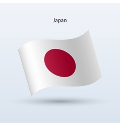 Japan flag waving form vector