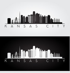 Kansas city usa skyline and landmarks silhouette vector