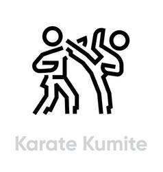 Karate kumite sport icons vector