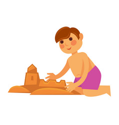 Little boy making sand castle isolated on white vector