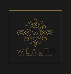 Luxurious letter w logo with classic line art vector
