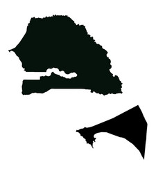 Map senegal and dakar country and capital vector