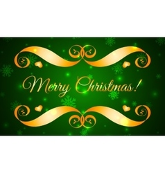 Merry Christmas Gold Badge over Green vector image