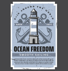 nautical anchors sea lighthouse and sailing ships vector image