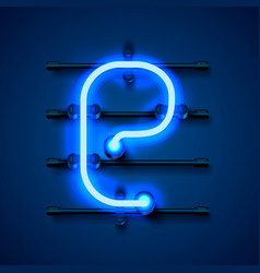 Neon font letter e art design signboard vector