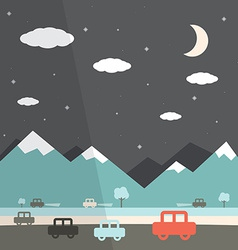 Night Landscape Flat Design vector image
