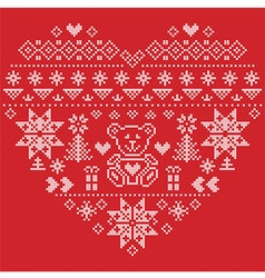 nordic pattern in hearts shape with teddy bear on vector image
