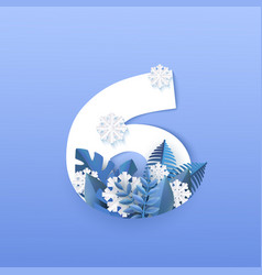 numeral 6 natural winter vector image