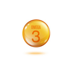 Omega 3 vitamin - golden sphere pill with text and vector