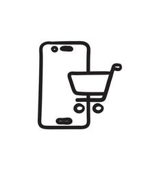 Online shopping sketch icon vector