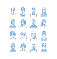 Outline avatars smiling young people icons user vector