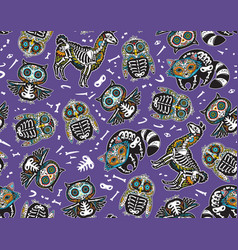 owl penguian llama and raccoon sugar skull vector image