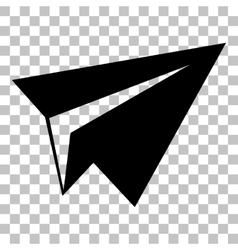 Paper airplane sign Flat style black icon on vector image
