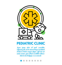 Pediatric clinic banner outline style vector
