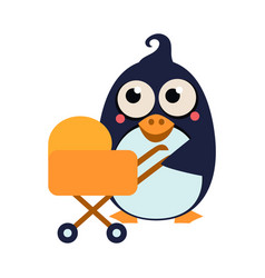 penguin mom and baby in stroller vector image