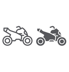 Quad bike line and glyph icon transport and drive vector