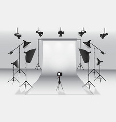 Realistic photo studio white blank background vector