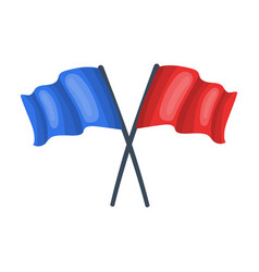 Red and blue flagspaintball single icon in vector