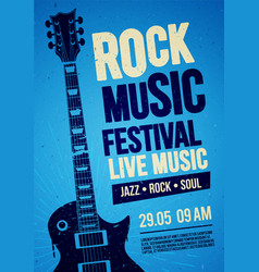 rock festival concert poster design with guitar vector image