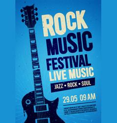 Rock festival concert poster design with guitar vector